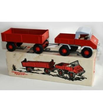 Tippco 1:20 Unimog U 411 Metallmodell  rot mit  roten Zwei Achs Anhänger ca. 1956