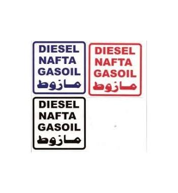 Aufkleber Diesel, Nafta, Gasoil rot
