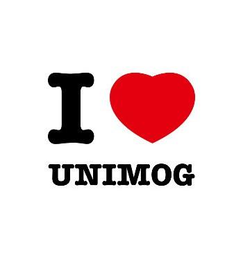 Aufkleber: I love Unimog. Der Aufkleber ist Kult!